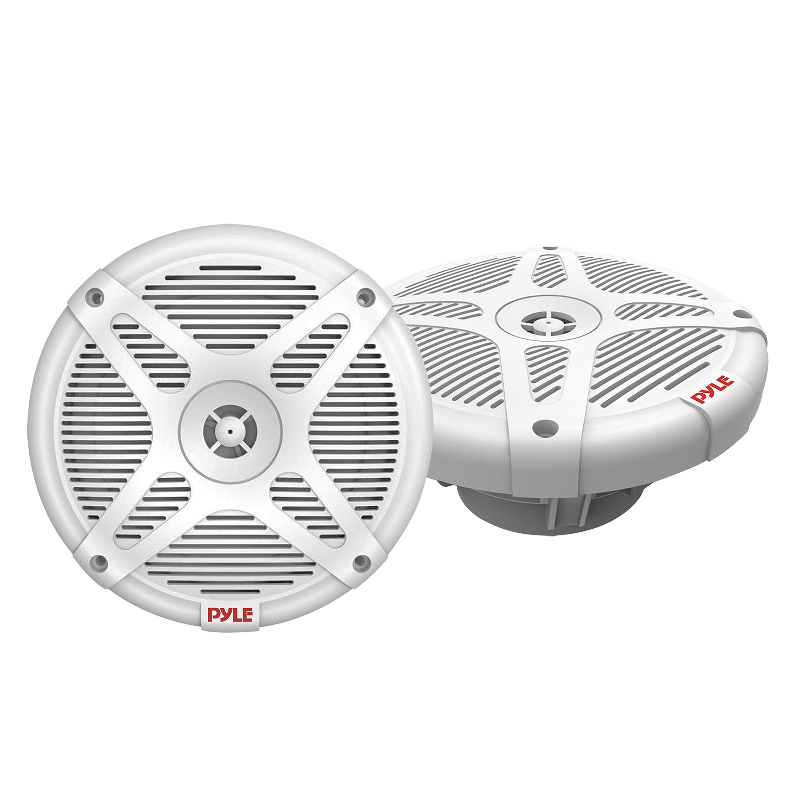 6.5 Inch Marine Speakers (Pair) - 2-way IP-X4 Waterproof and Weather Resistant Outdoor Audio Dual Stereo Sound System with 600 Watt Power and Low Profile Design - Pyle PLMR652W (White)