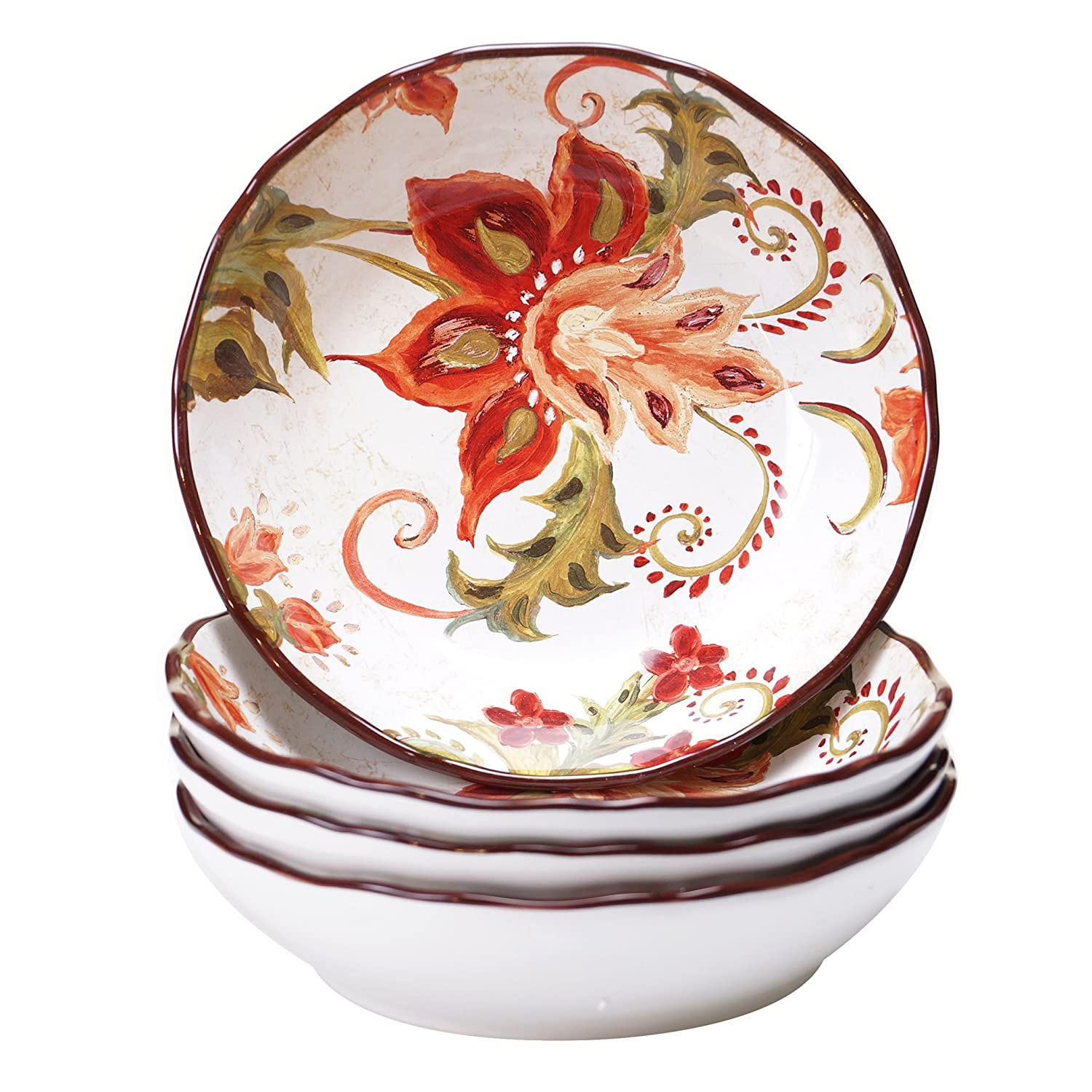 Certified International 25827SET/4 Spice Flowers Soup/Pasta Bowl (Set of 4), 8-Inch, Multicolor