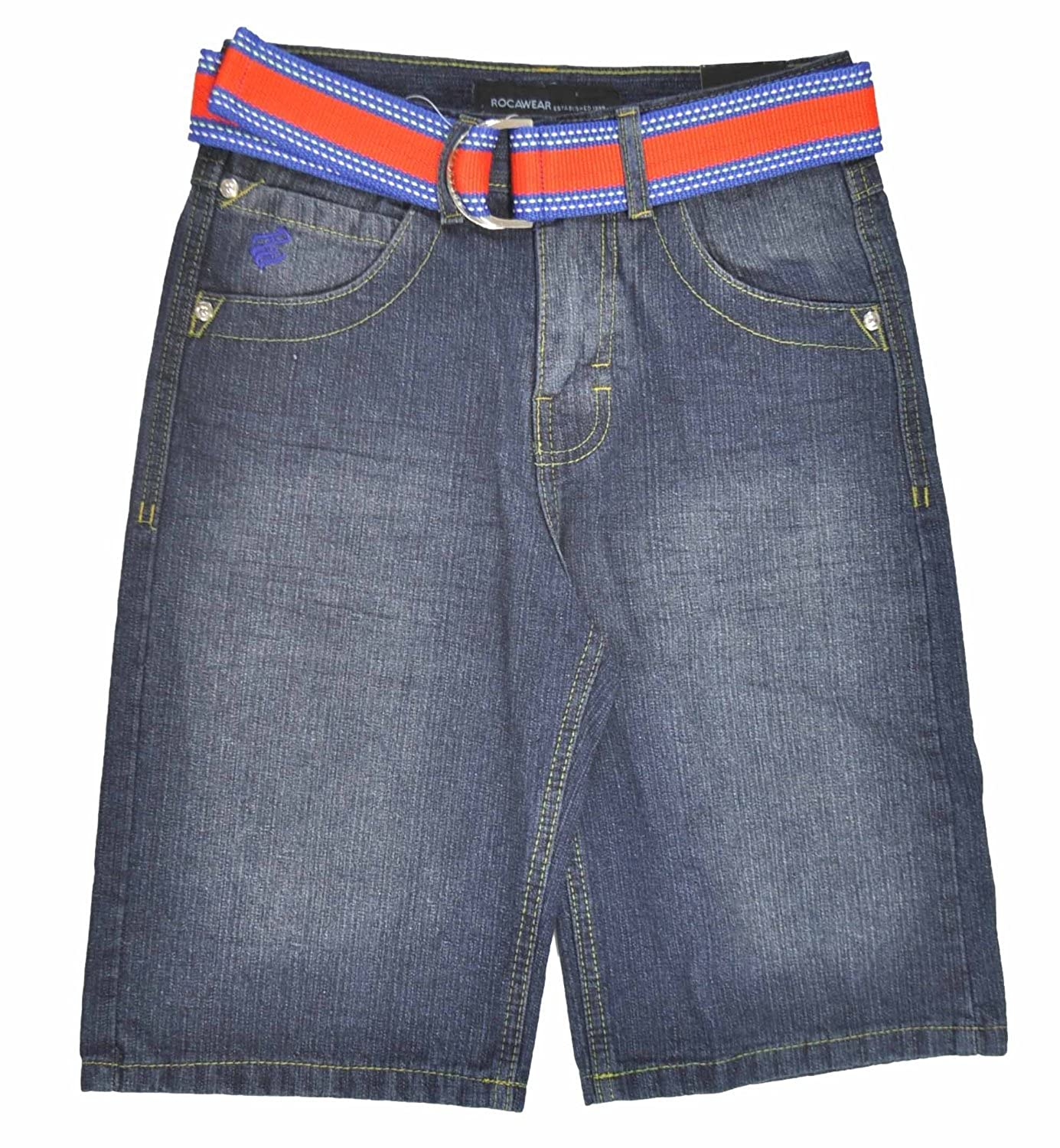Rocawear Big Boys Indigo Denim Blue /& Orange W//Belt Short