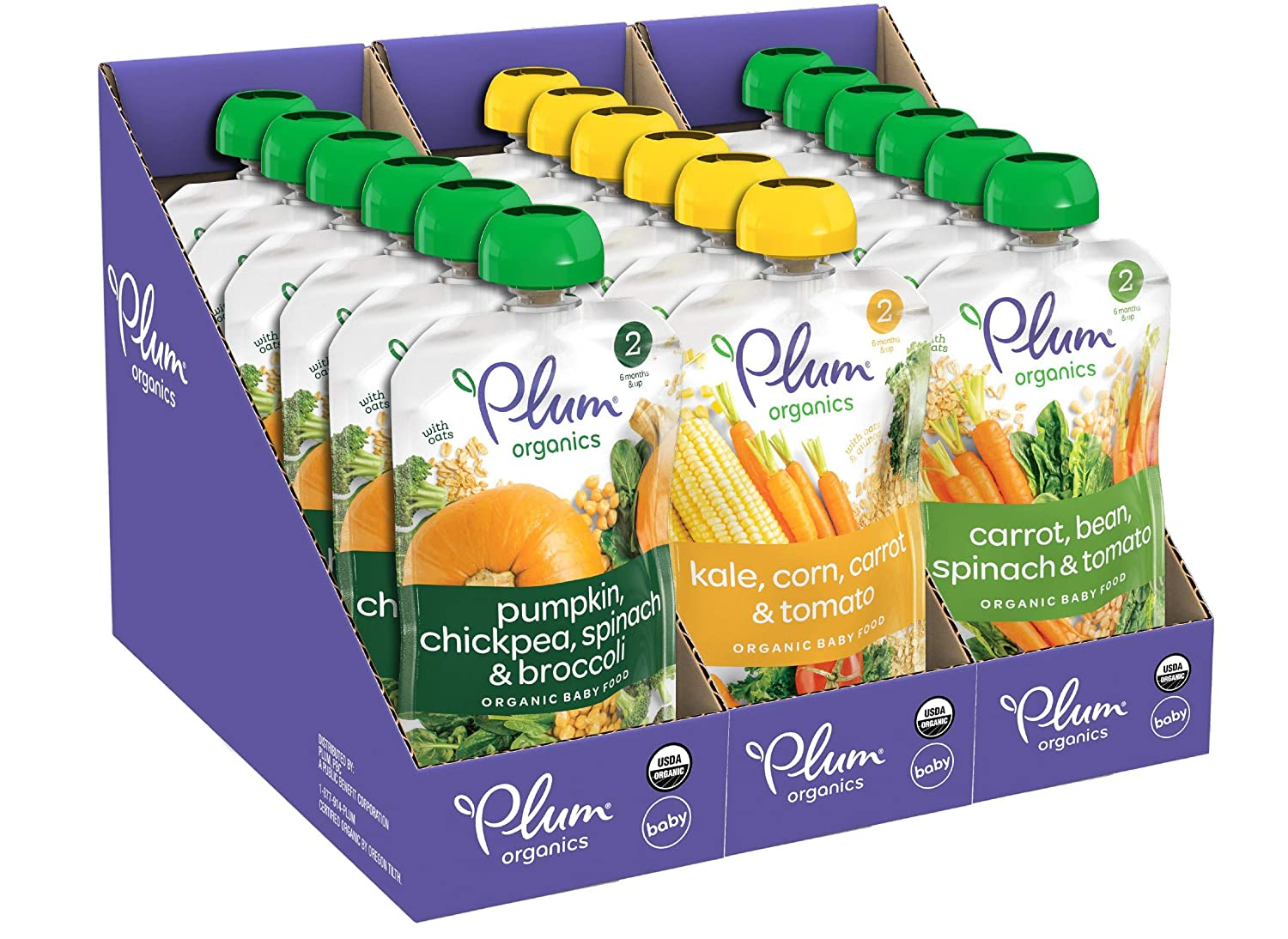 Plum Organics Hearty Veggie, Organic Baby Food, Variety Pack, 3.5 Ounce Pouch, 18 Count
