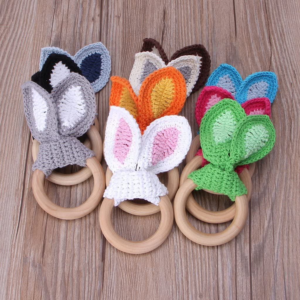 LANDUM Baby Girl Boy Teething Ring Chewable Teether Wooden Natural Bunny Rattle Toy