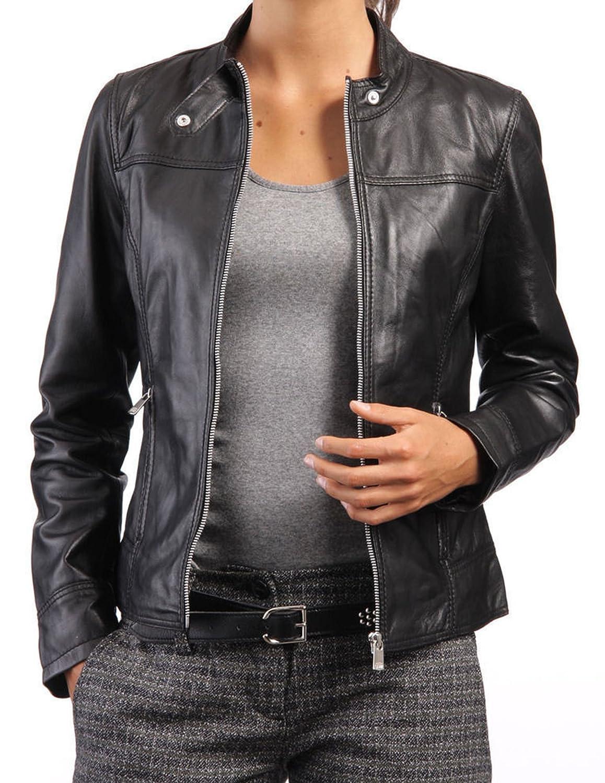New Women Genuine Real Leather Jacket Ladies Slim Fit Biker Coat LTN548