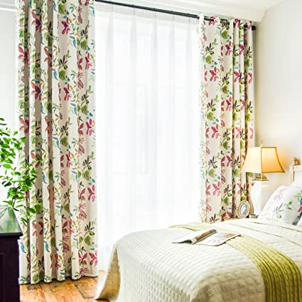 VOGOL Printed Bedroom Curtains, Window Grommet Panels Floral Room Darkening  Drapes,Curtain Living Room Balcony, W52x L84 inch, Purple