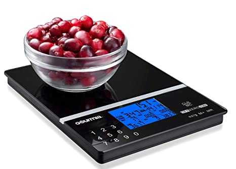 Gourmia Gks9190 Nutrition Scale Tempered Glass Kitchen Scale With Calorie Counter Digital Touchscreen Display 5kg 11lb Capacity Measures 22 4 X 15