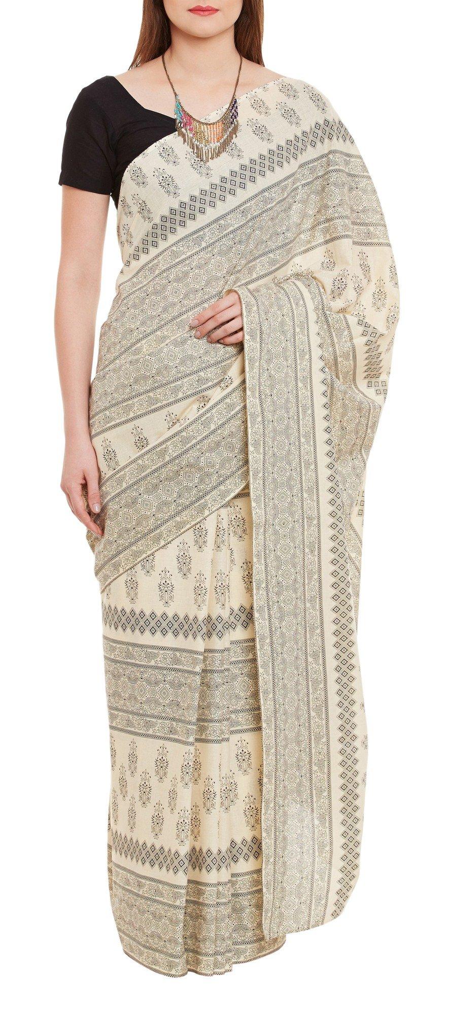 Women's Indian Warli Print Art Saree Cotton Set of 3 Sari Blouse Petticoat Skirt,W-CSR0332-5003