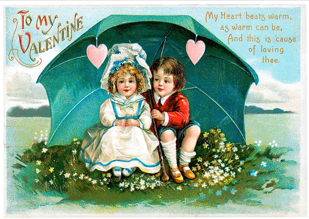 Unique Vintage Valentines Day Cards School Package , Hearts Beat Warm