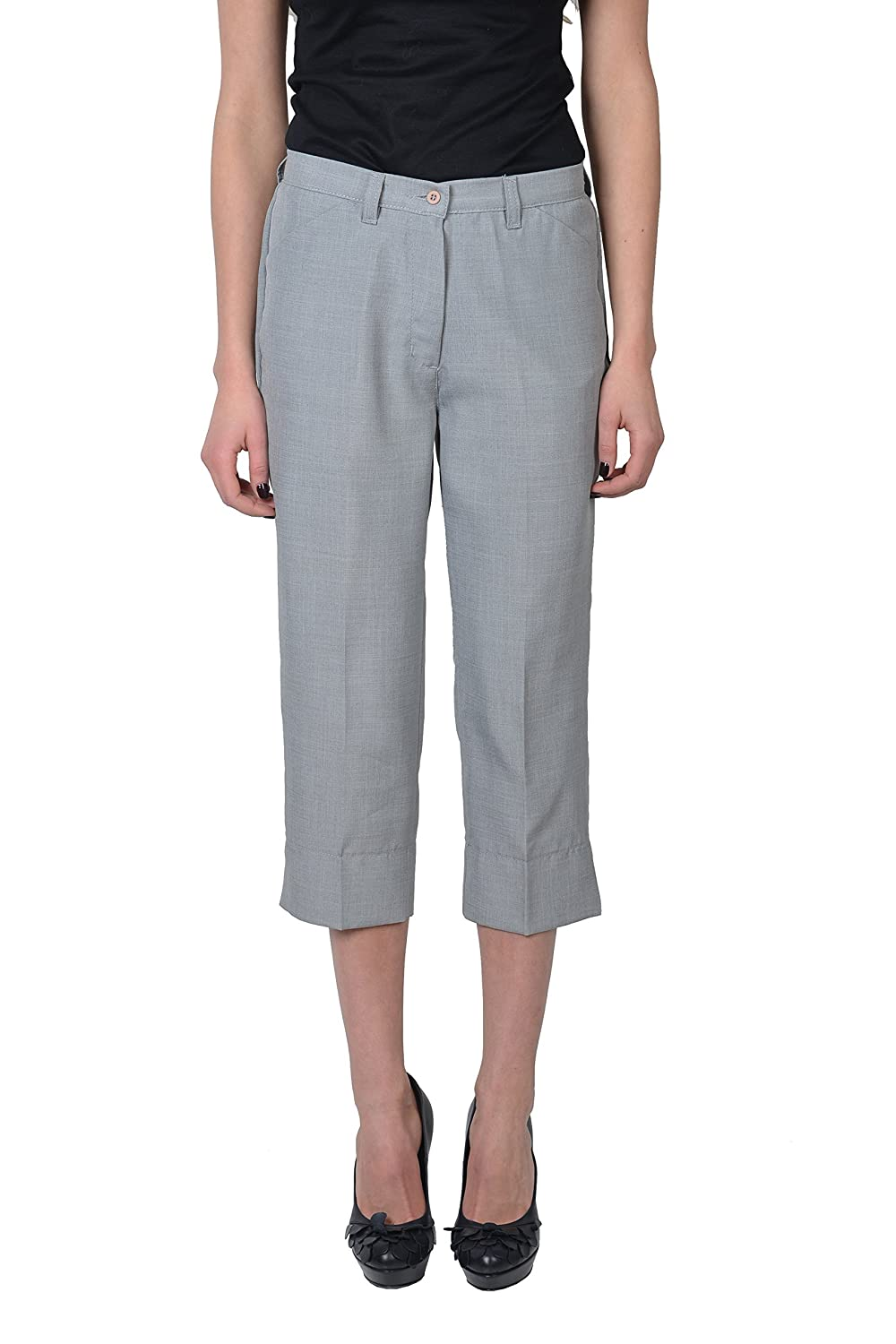 Take Two Women's Gray Cropped Pants Capri US 28 IT 42