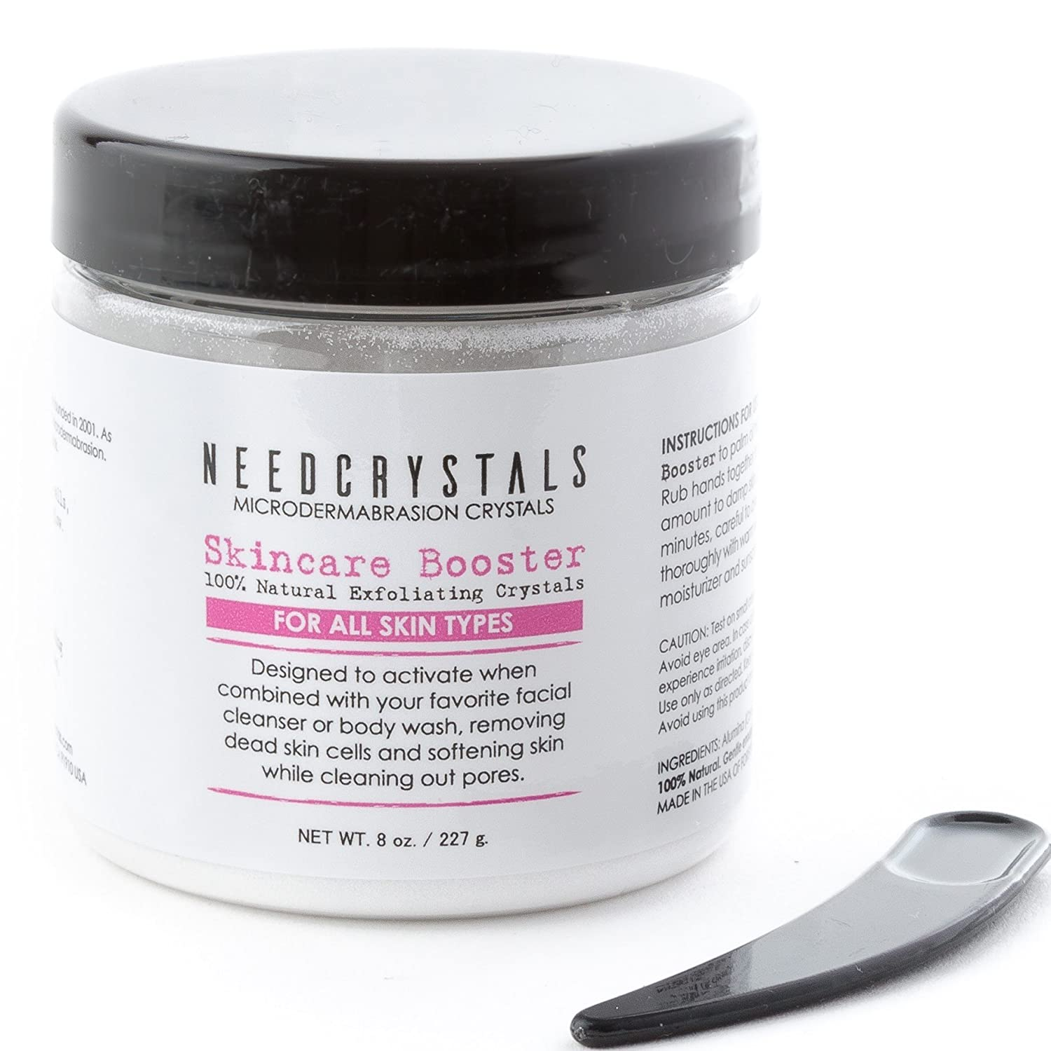 NeedCrystals Microdermabrasion Crystals, DIY Face Scrub. Natural Facial Exfoliator for Dull or Dry Skin Improves Acne Scars, Blackheads, Pore Size, Wrinkles, Blemishes & Skin Texture. 8 oz 8OZWAO120