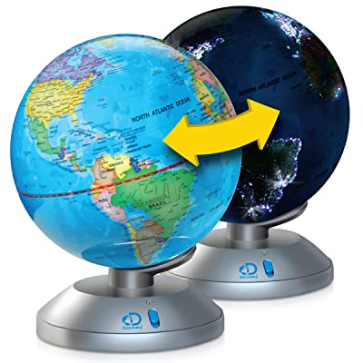 Discovery Kids 2-in-1 World Globe LED Lamp w/Day & Night Modes, STEM Geography Map Educational Toy for Children, Solar System, Light Up Cities and Countries, Rotating w/Display Stand: Toys & Games