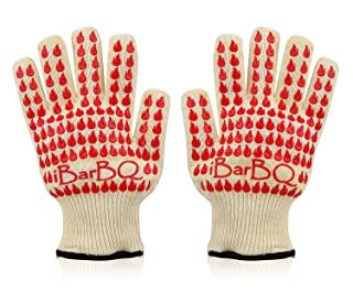 iBarBQ Barbeque Grill Smoker Oven Heat Protection Silicone Gloves, Pair