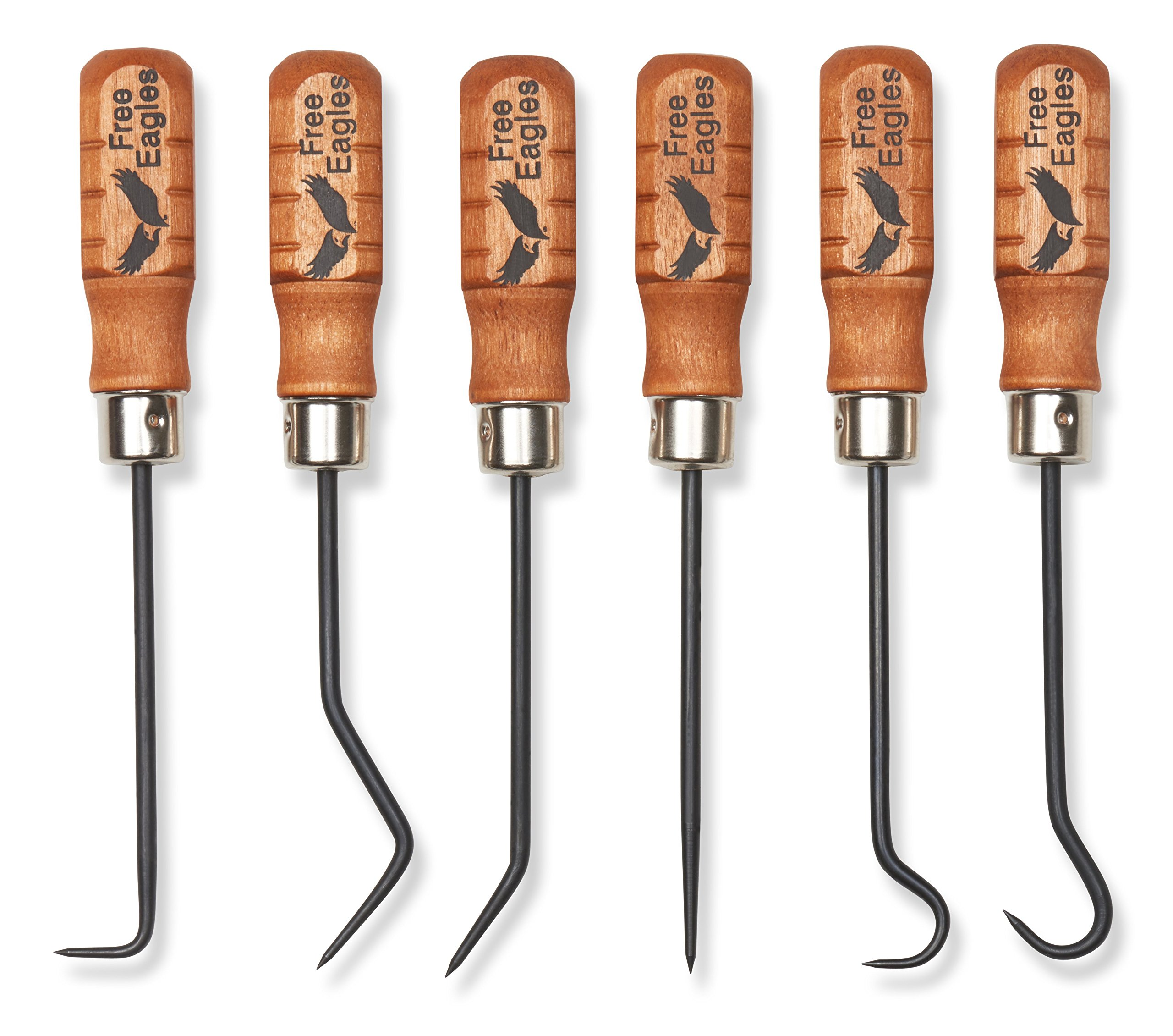 Hook And Pick Tool Set - 6 Multipurpose Handcrafted Quality Mini Tools - Durable, Rigid and Heavy Duty Chromium Vanadium Forge Steel - These All Purpose Tools Are Made In The USA - Free Eagles, LLC