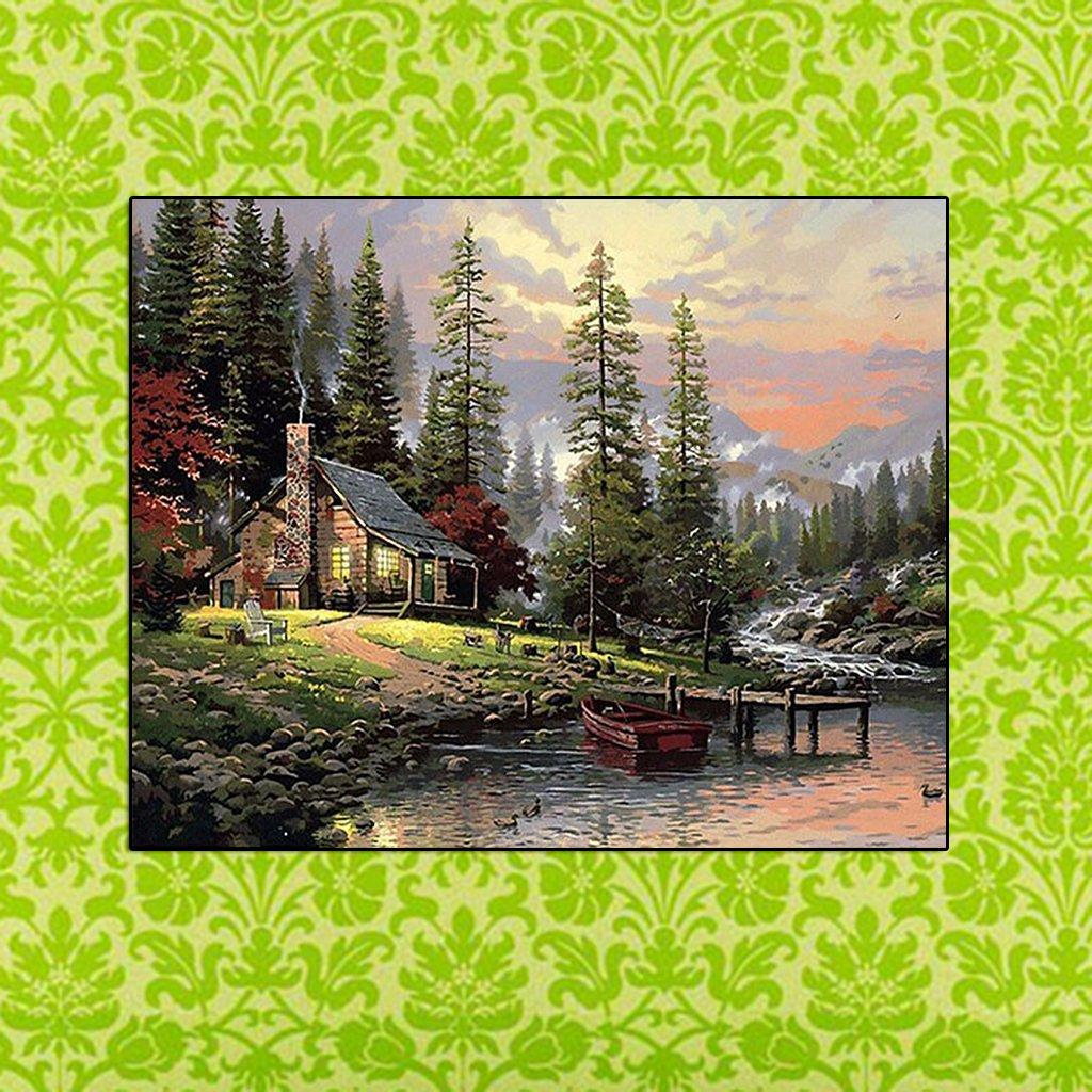 Lamdoo Forest Hut - Lienzo Digital para Pintura al óleo por Numbers Office Home Decor: Amazon.es: Hogar