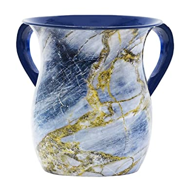 The Kosher Cook Stainless Steel Netilat Yadayim Cup – Blue and Gold Stone Painted Design - Looks Like Ceramic - Rust, Break and Crack Proof Negel Vasser Cup - Judaica Gift Collection