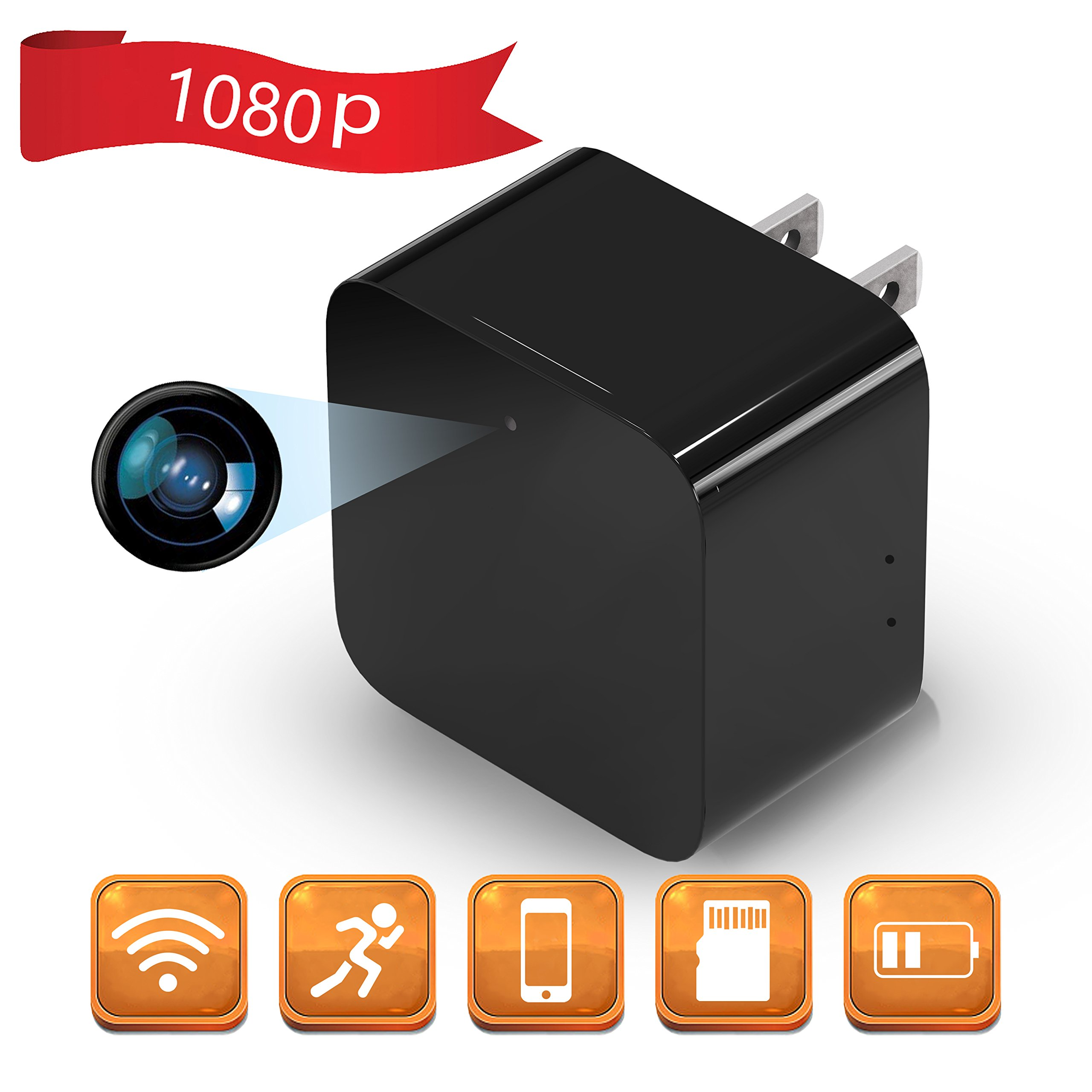 1080P WiFi Spy Camera, Hidden Camera, Mini Camera, Nanny Camera with Motion Detection, Loop Recording for Home and Office Security Surveillance