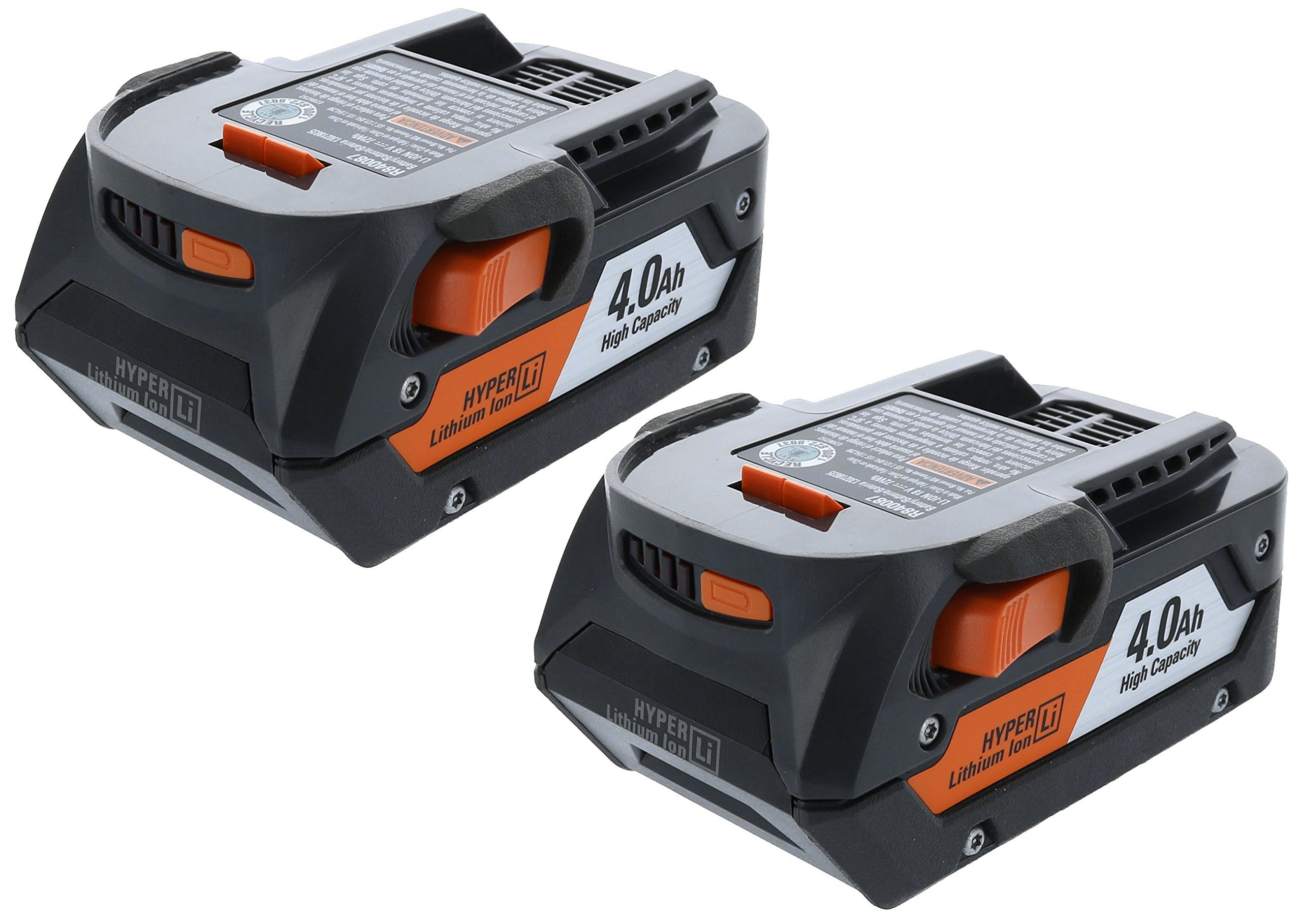 Ridgid AC840087P 18 Volt 4 Amp Hour Lithium-Ion Battery w/ Onboard Fuel Gauge (2-Pack of R840087 Battery) (Certified Refurbished)