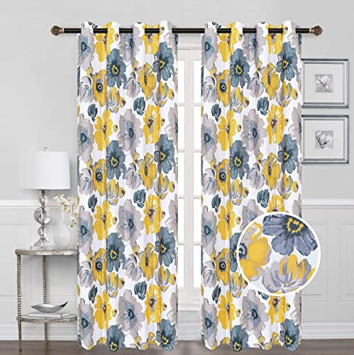 Beatrice Home Floral Darkening Window Panel Thermal Insulated 100 Blackout Drapes 54 Width 84 inch Long Pair for Living Room Bedroom Dining Miami Collection Yellow-Gray