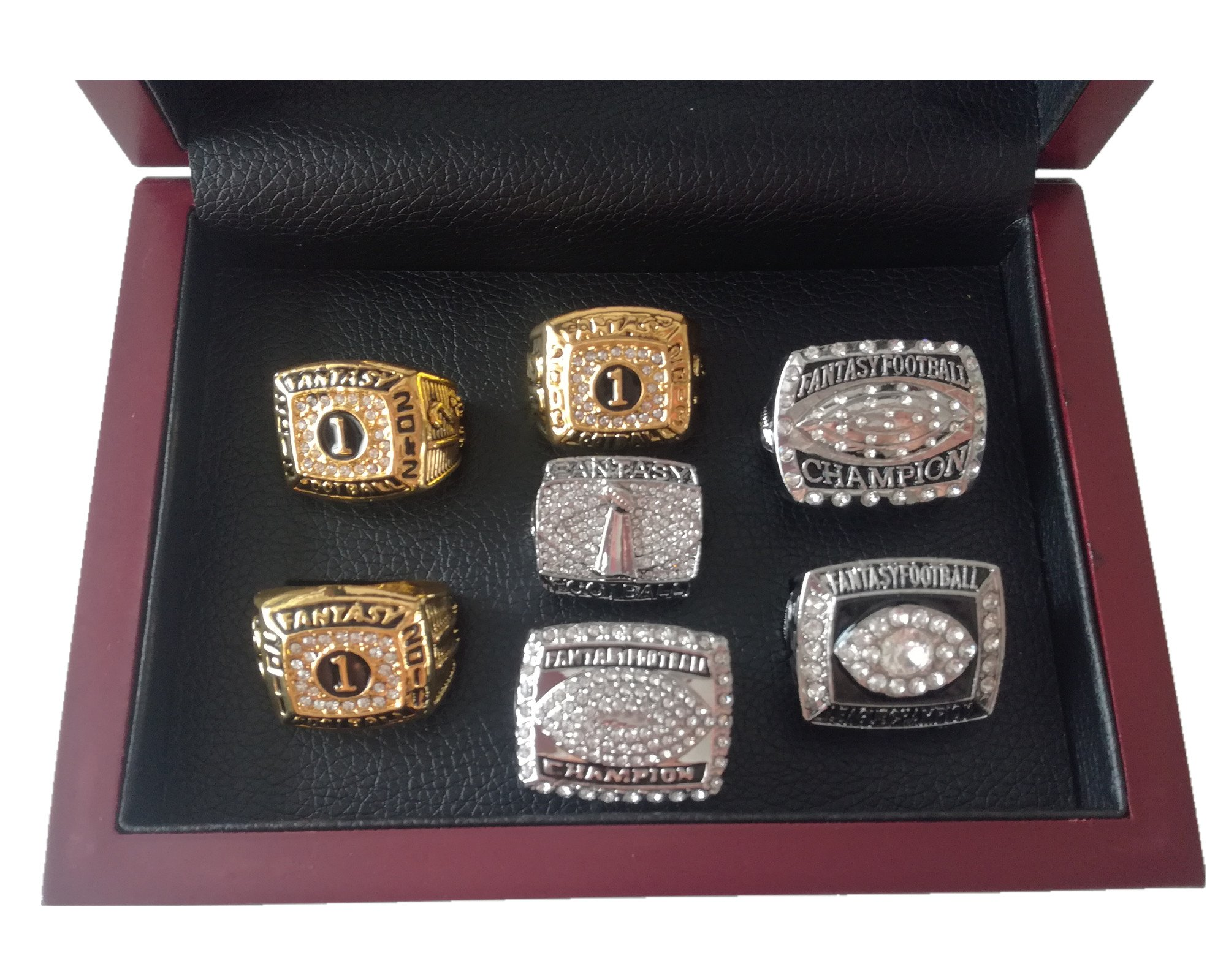 TYSping Fantasy Football 2011-2017 Championship Ring Trophy Prize (7 Years Set)
