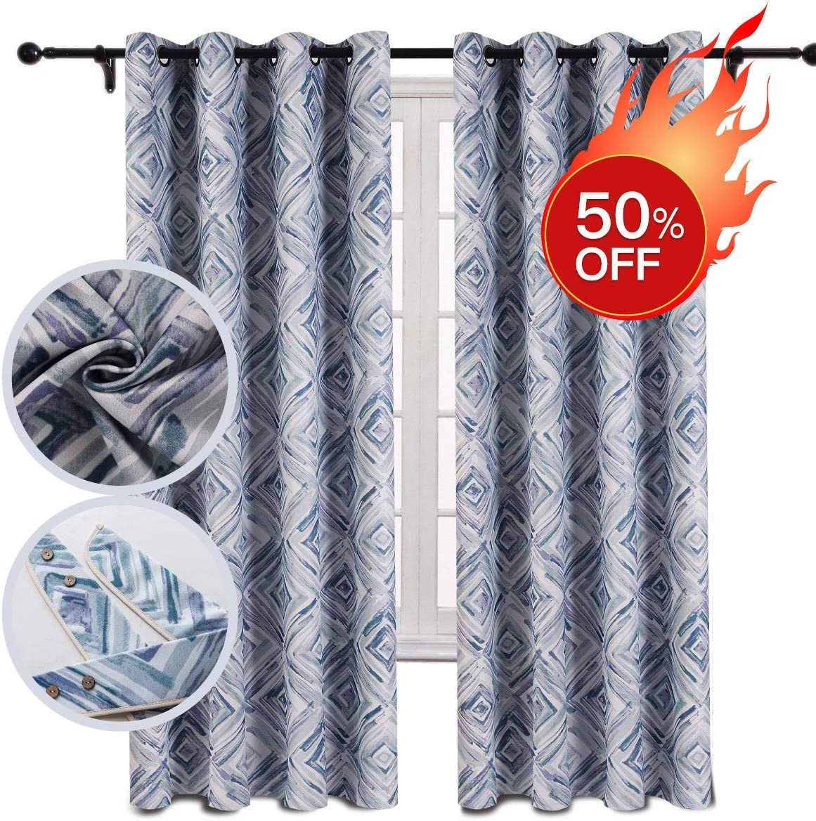 vfanric Thermal Insulated Blackout Curtains, Printed Room Darkening Curtains for Living Room Easy Care Grommet Panels – Square W52 x L84-inch, 2 Panels