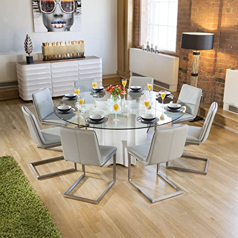 44dee04166 Avant Garde Round Glass Top White Gloss Dining Table + 8 Ice Grey  Cantilever Chair: Amazon.co.uk: Kitchen & Home