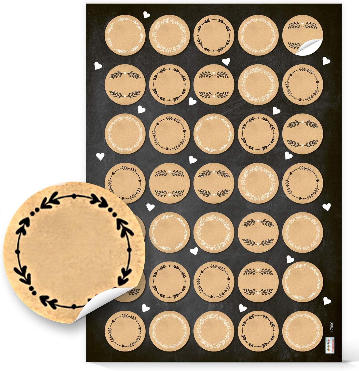 kraft 12 Stück 3,5cm ø Blanko-Sticker