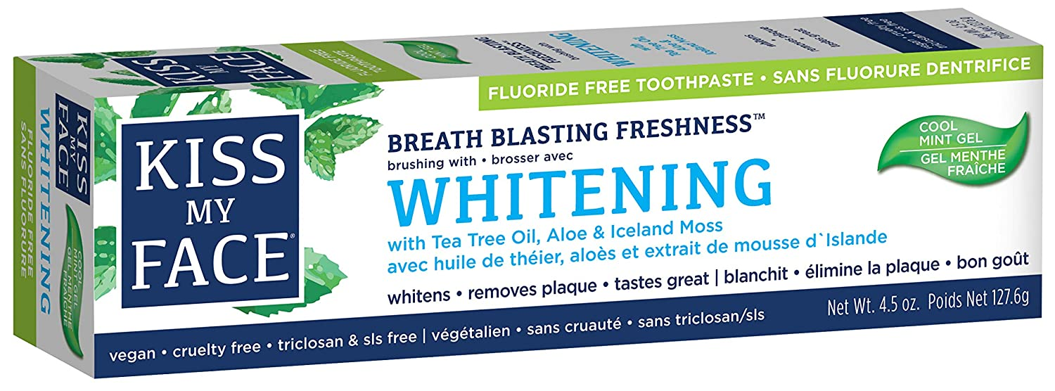 Kiss My Face Gel Teeth Whitening Toothpaste, Fluoride Free, 4.5 Ounce, 1 Count CE-275