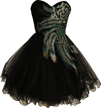Metallic Peacock Embroidered Holiday Party Homecoming Prom Dress, XS, Black