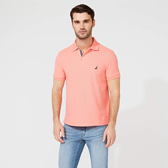 Nautica Solid Anchor Deck Polo Slim Fit Camisa, Coral, x-Large ...