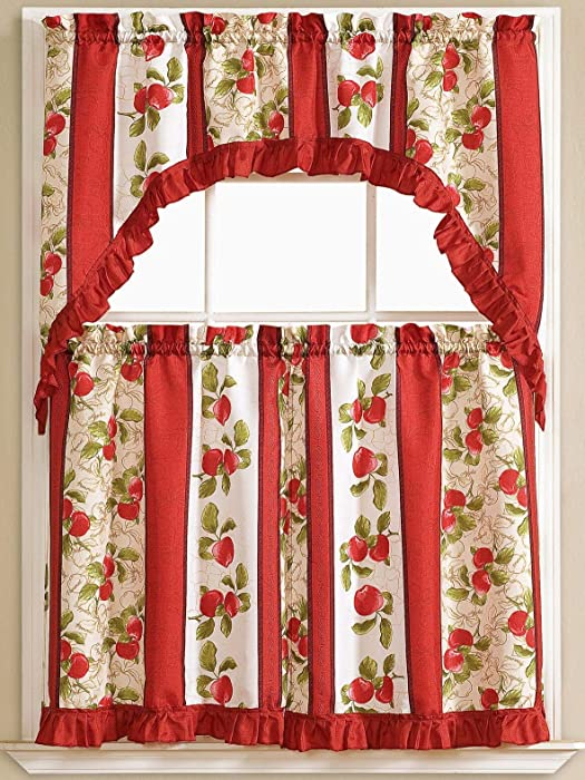 """Golden Rugs Red Apple 3pc Kitchen Curtain and Valance Set/1 Swag Valance and 2 Tiers,2 Tiers Width 30""""x 36"""" Each and The Valance Length 60""""x36"""""""
