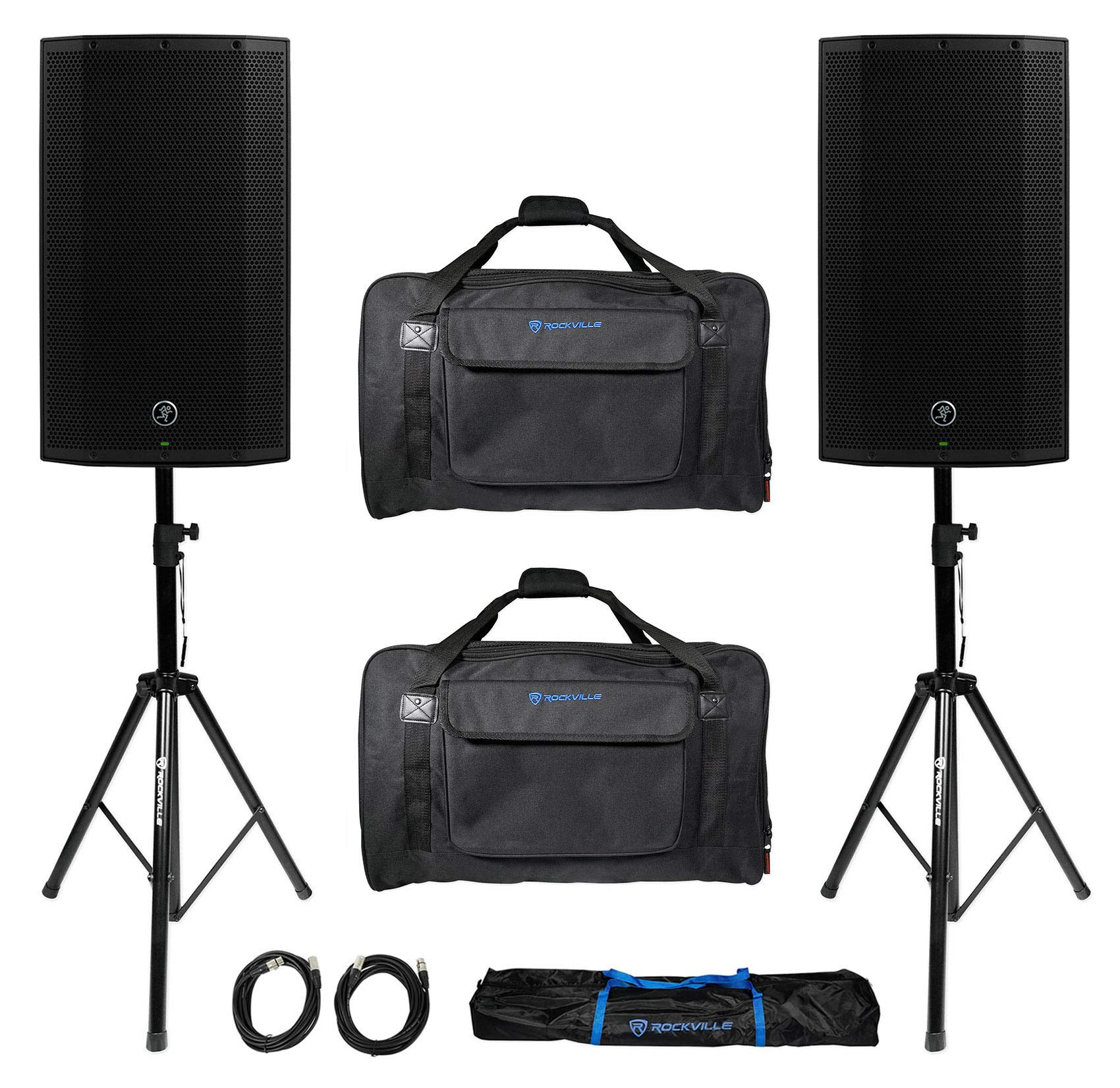 (2) Mackie Thump12A THUMP-12A 12'' 2600w Powered DJ PA Speakers+Carry Bags+Stands by Mackie