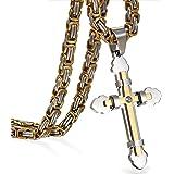 Oidea - Colgante de cruz de acero inoxidable con cadena para hombre