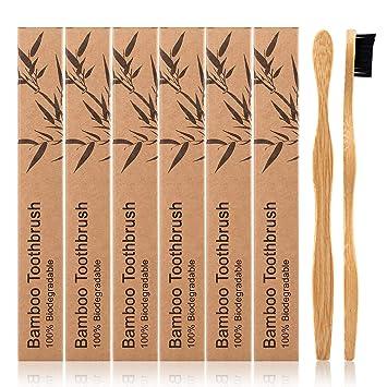 Swonuk Set de 6 Cepillo de dientes de bambú 100% libre de BPA Cepillo Dental Suave: Amazon.es: Salud y cuidado personal