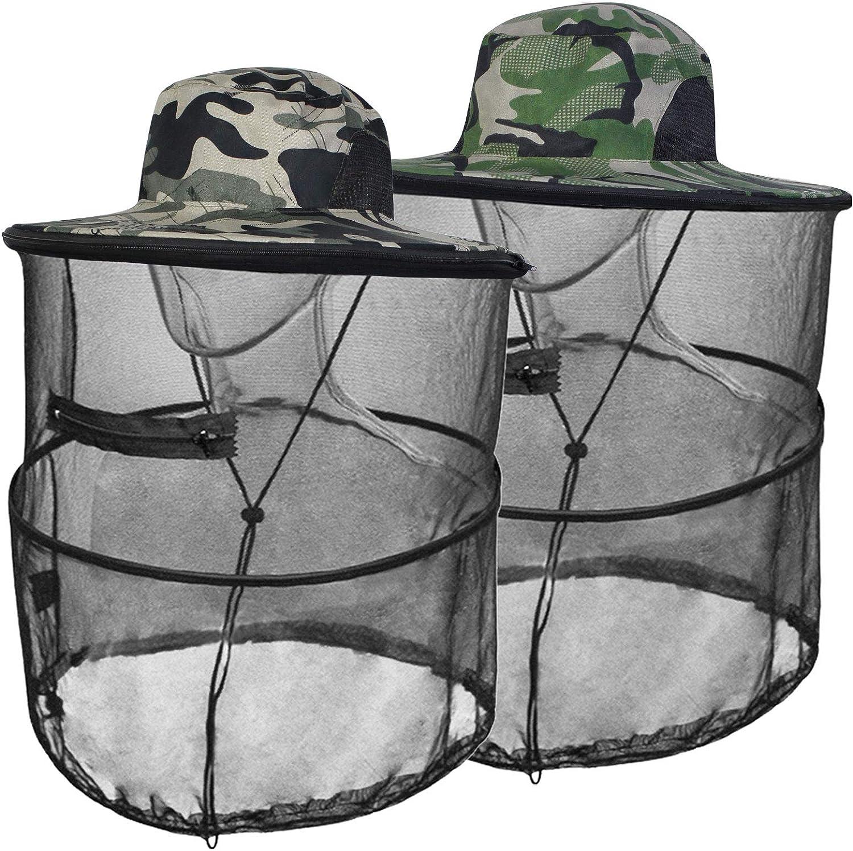 Mosquito Head Net Hat Sun Hats with Hidden Net Mesh Mask