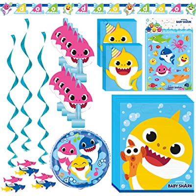 Unique Baby Shark Party Accessories Bundle | Banner, Blowouts, Loot Bags, Invitations, Mylar Balloon, Stickers, Hanging Swirls | Great for Themed Parties - Officially Licensed by Unique: Health & Personal Care