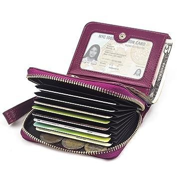 0135c1d4df42f2 BAGZY Kleine Echt-Leder Geldbörse Damen Portemonnaie Reißverschluss Frau  Brieftasche Kreditkartenfahrer Halter Clutch Travel Handtasche