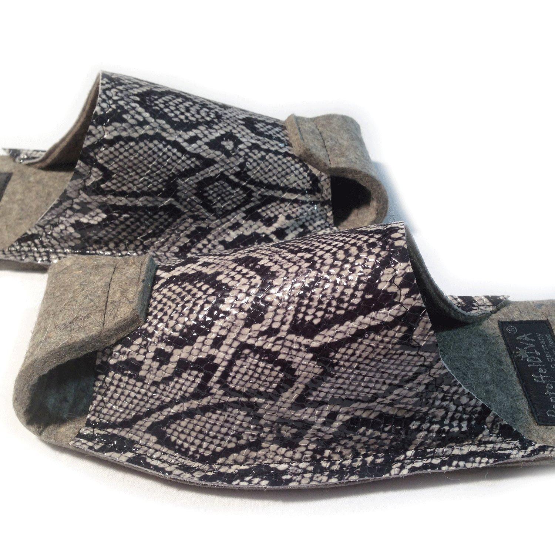 schwarz Snake Snake schwarz - Damenpantoffel in Reptiloptik, geprägtes Rinderleder, Unisexgröße 38-42 - 9ea620
