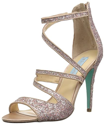 2a9a4e69e6f Blue by Betsey Johnson Women s SB-IZZY Heeled Sandal Nude Glitter 6 M US