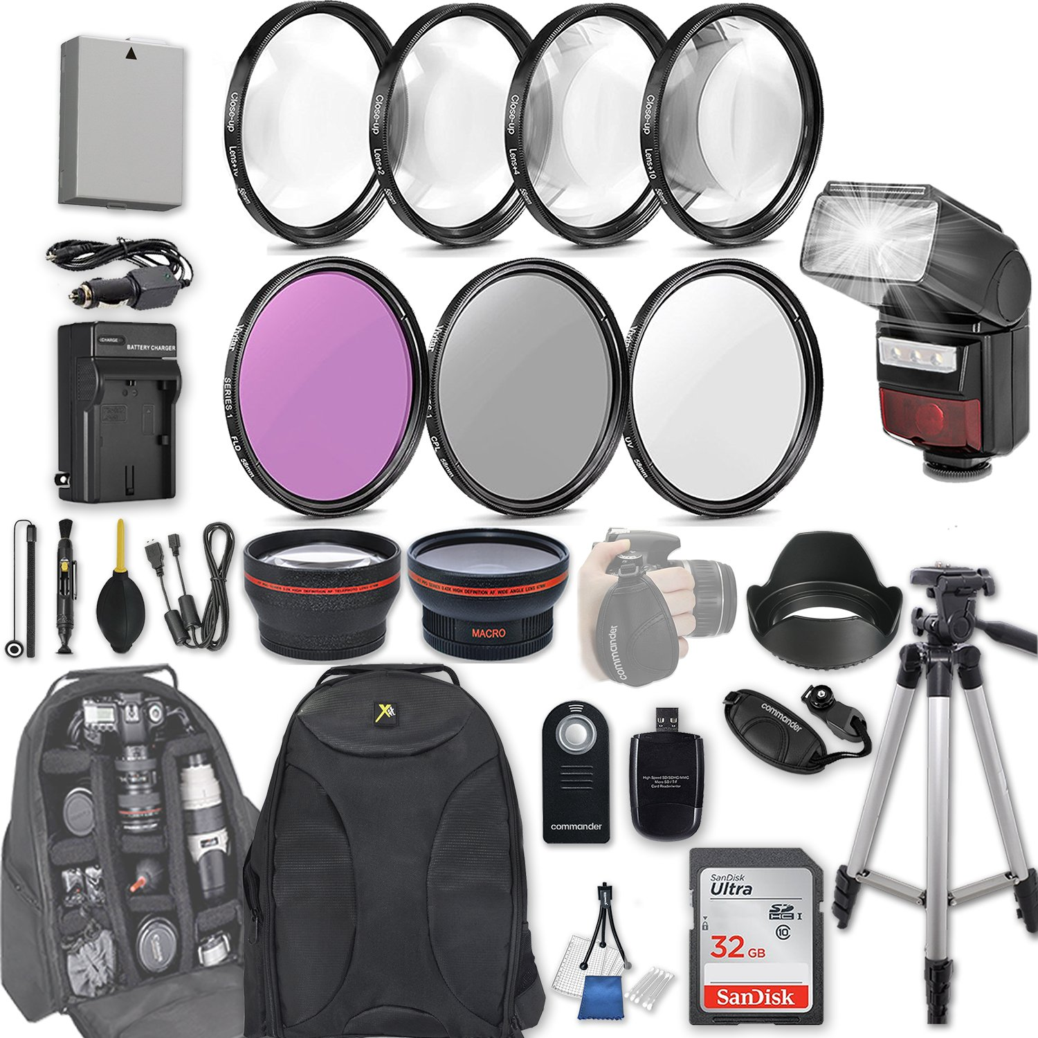 58mm 28 Pc Accessory Kit for Canon EOS Rebel T3i, T5i, 300D, 700D DSLRs with 0.43x Wide Angle Lens, 2.2x Telephoto Lens, LED-Flash, 32GB SD, Filter & Macro Kits, Backpack Case, and More by 33rd Street