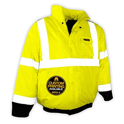 ca6abec5a KwikSafety (Charlotte, NC) GUARD | Class 3 Black Cuff Safety Bomber Jacket  | High Visibility ANSI OSHA PPE | Foldable Hood Reflective Winter Water ...