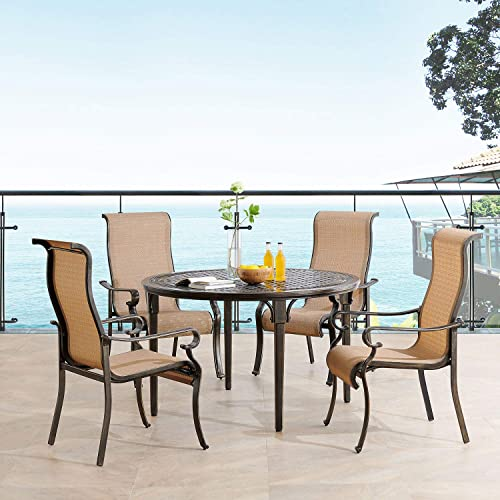 Hanover BRIGDN5PCRD Brigantine 5-Piece 4 Contoured-Sling Chairs and a 50-in. Round Cast-Top Table Outdoor Dining Set
