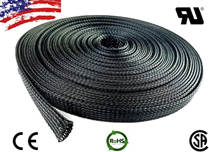 "10 FT 3//4/"" Black Expandable Wire Cable Sleeving Sheathing Braided Loom Tubing US"