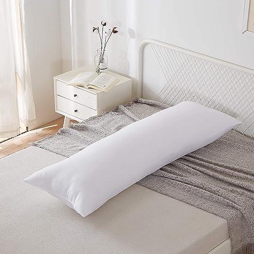 "Acanva Fluffy Bed Sleeping Side Sleeper Body Pillow Insert, Long 20"" x 60"", White"