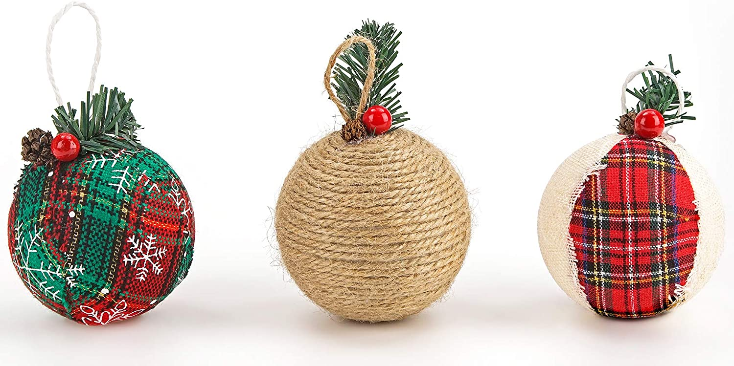 BRUBAKER 12-Piece Natural Jute Christmas Ornaments 3.2 Inches Red /& Green Baubles Ball Ornaments