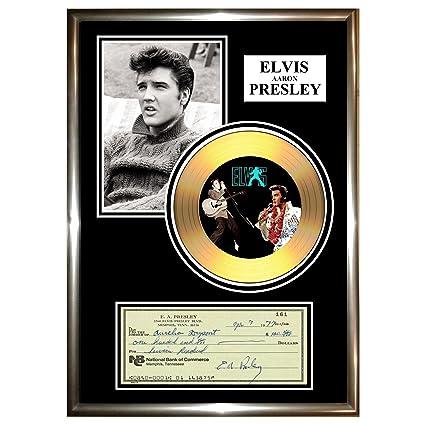 Elvis Presley - Cheque vinilo dorado enmarcados (firmados CD y foto ...