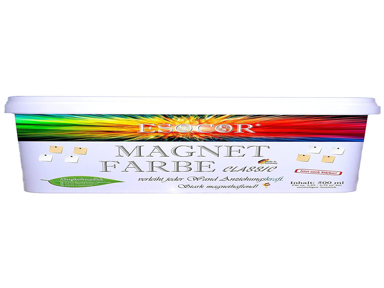 500 ml ESOCOR Magnetfarbe classic + 3 Neodym- Test Magnete – stark magnethaftend – sehr Allergikerfreundlich – Ohne Konservierungsmittel – Ideal für sensible Innenräume Esocor®