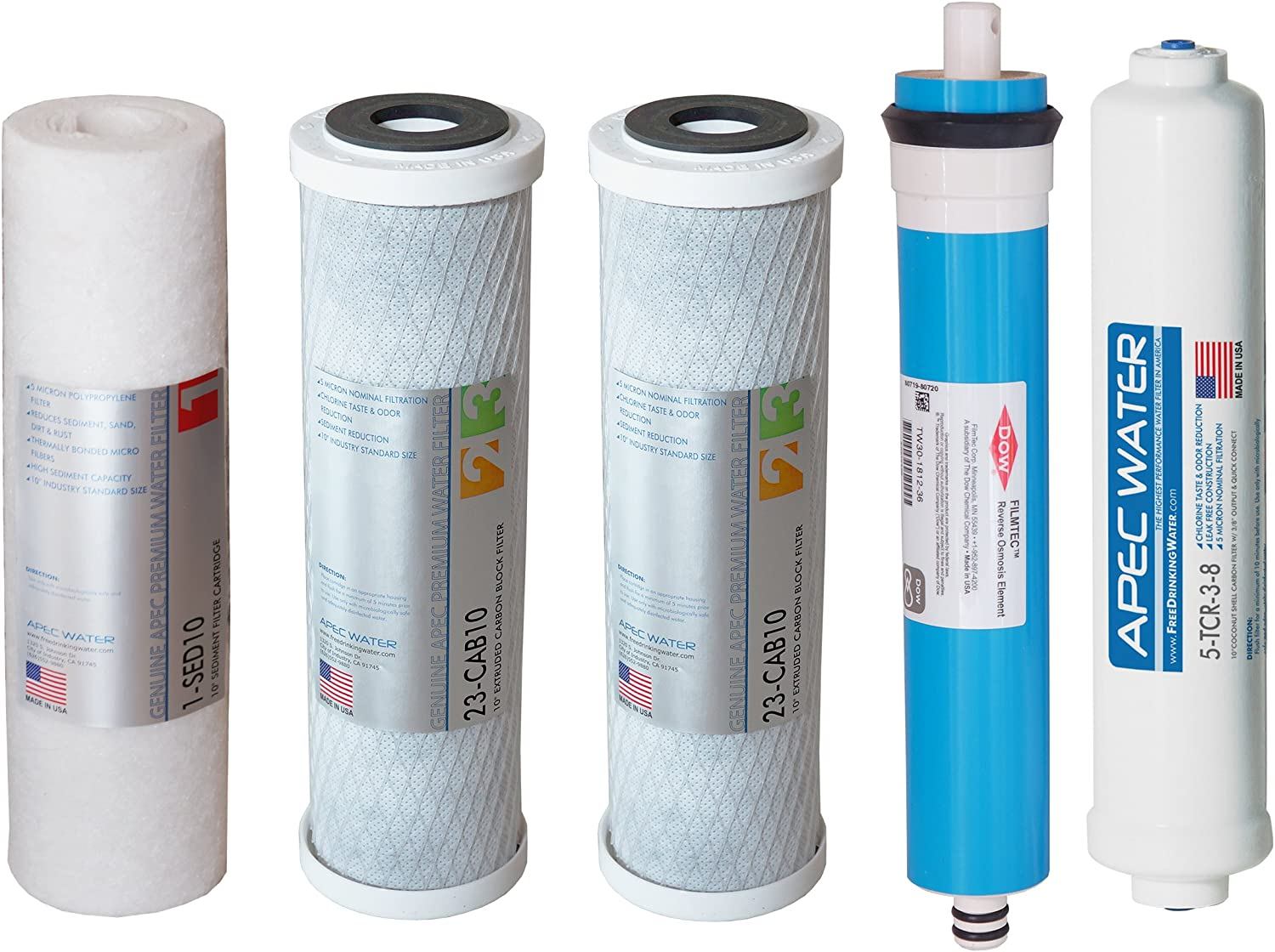 """APEC FILTER-MAX45-38 US Made 50 GPD Complete Replacement Filter Set For ULTIMATE Series Reverse Osmosis Water Filter System with 3/8"""" Quick Dispense (For Upgraded 3/8"""" Output System)"""