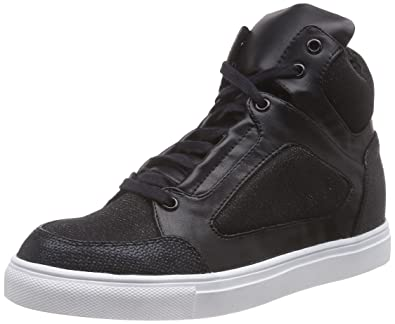Bronze/Schwarze High-top Sneakers Mit Glitzer Effekt, Womens Hi-Top Sneakers La Strada