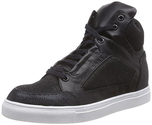 La Strada Bronze/Schwarze High-Top Sneakers mit Glitzer Effekt - Zapatillas Deportivas Altas de Material sintético para Mujer, Color Negro, Talla 37