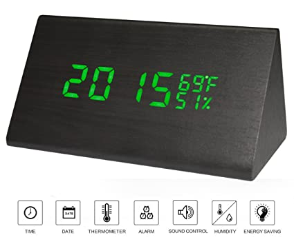 Smart Alarm Clock >> Amazon Com Alarm Clock Wood Led Personal Digital Smart Alarm