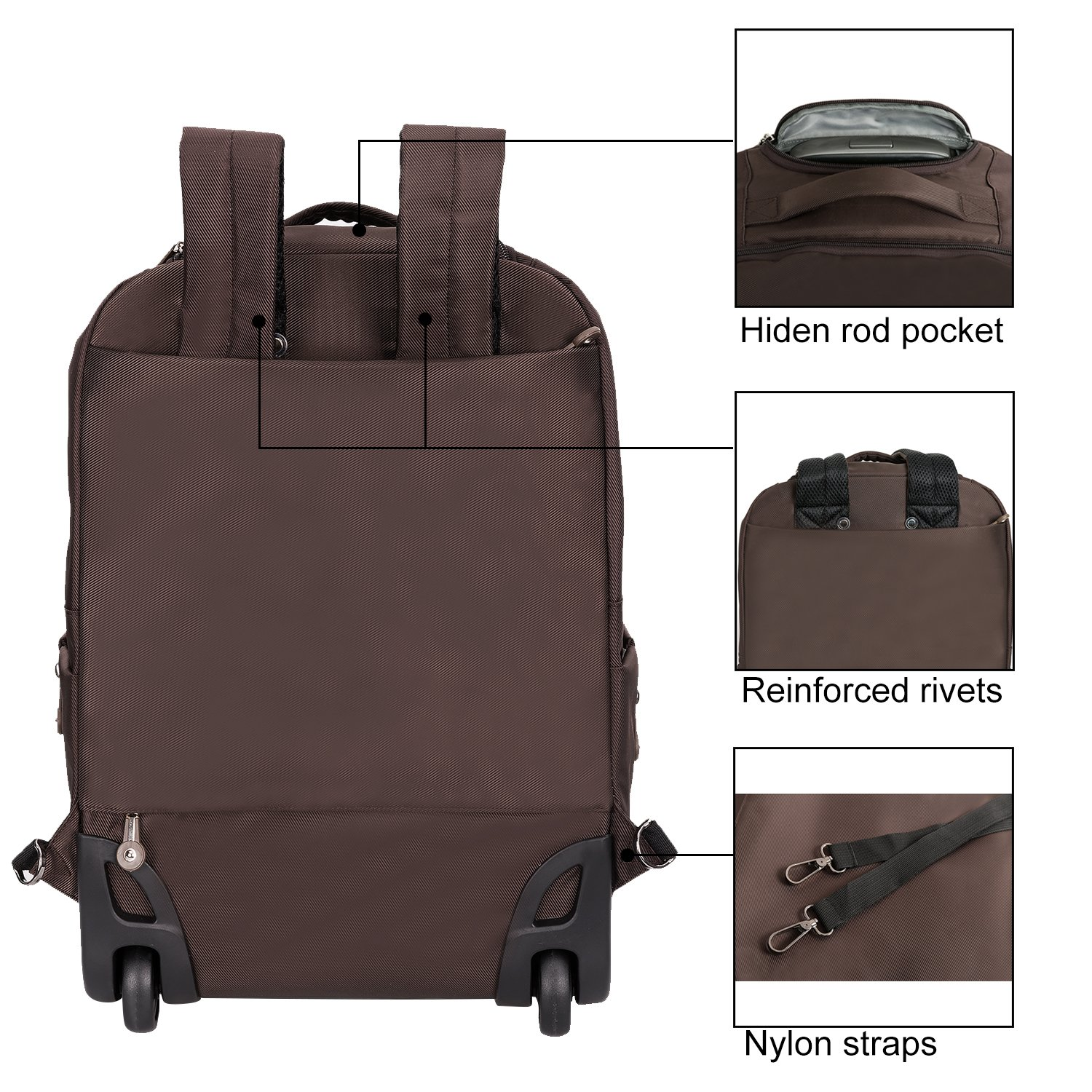20 inches Large Storage Multifunction Waterproof Travel Wheeled Rolling Laptop Backpack Luggage, Brown by HollyHOME (Image #5)