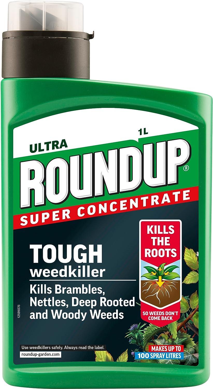 Roundup Producto para acabar con Las Malas Hierbas, Botella concentrada, 1 litro